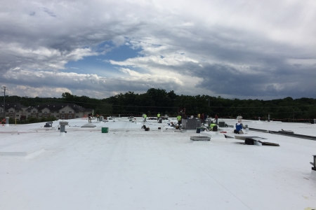 New GAF TPO roofing system for Manhattan Beer Distributors. Suffern, New York